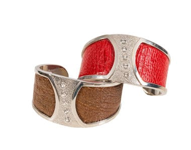 Leather and Silver Chunky Bracelets African Collectables