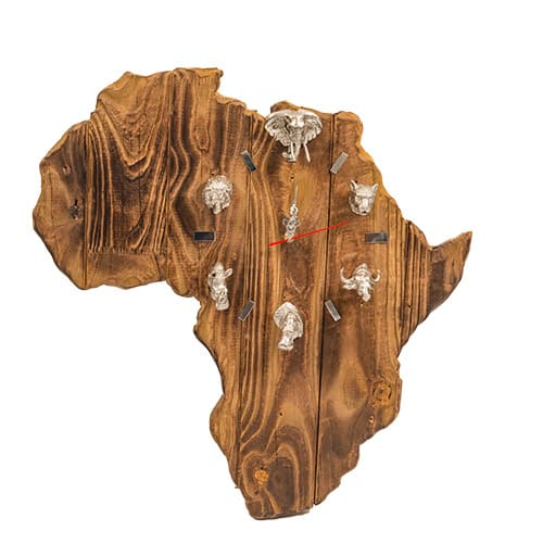Africa Clock Silver African Collectables