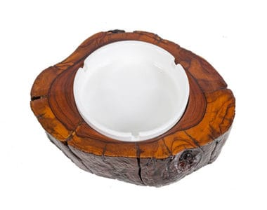 Plain White with Wood Ashtray African Collectables