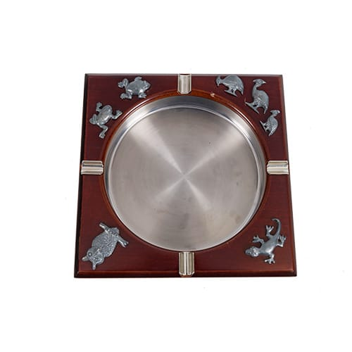 Silver Ashtray with Wild Animals African Collectables