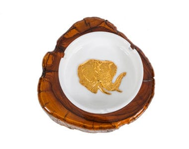 Plain Ashtray with Golden Elephant African Collectables