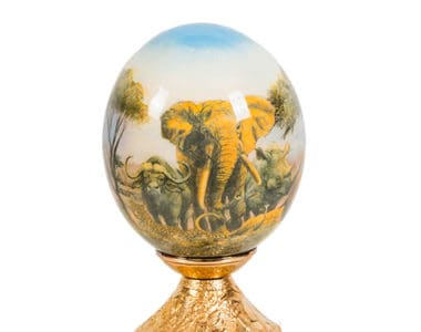 Big Five Painted Ostrich Egg African Collectables