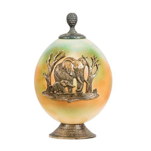 Painted Brass Elephants Ostrich Egg African Collectables