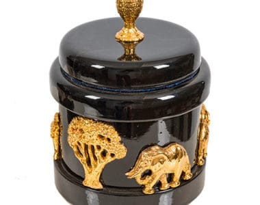 Dark Wood with Gold Jewellery Box African Collectables
