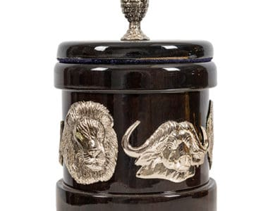 Dark Wood and Silver Jewellery Box African Collectables
