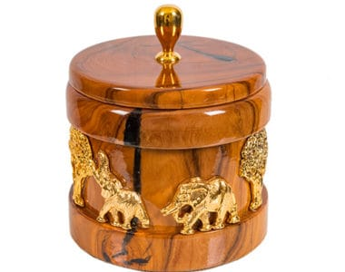 Olive Wood with Gold Jewellery Box African Collectables