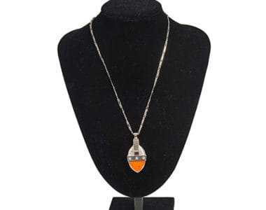 Orange Leather Pendant African Collectables
