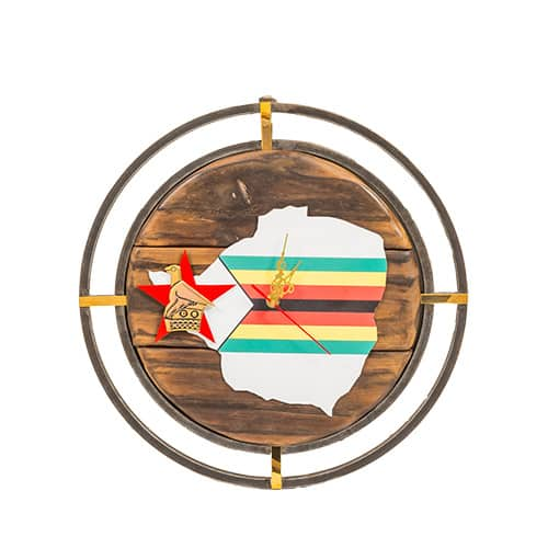 Zimbabwe Flag Clock African Collectables
