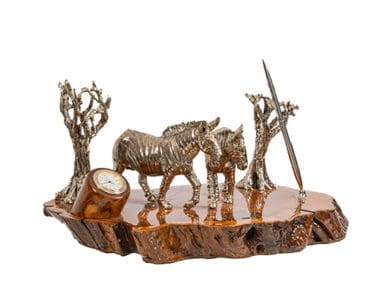 Zebra Pair Full Desk Set African Collectables