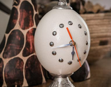 Clock Ostrich Egg African Collectables