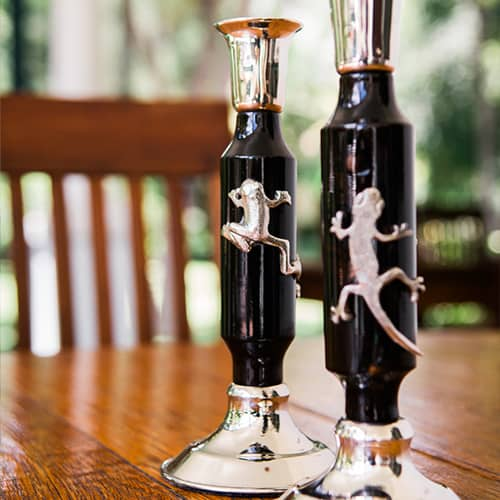 Ebony and Silver Gecko Candle Stick African Collectables