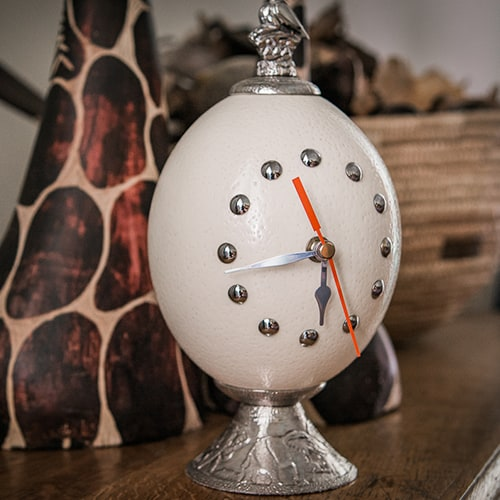 Ostrich Egg Clock African Collectables