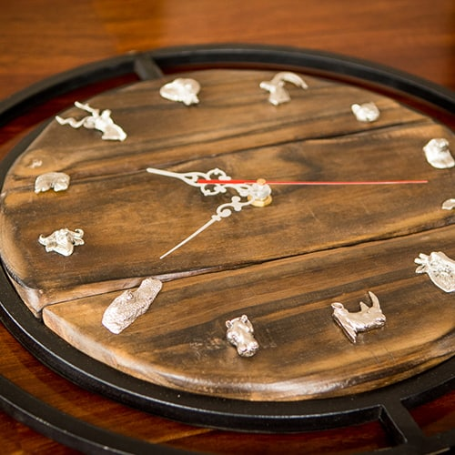 Wooden Clock African Collectables